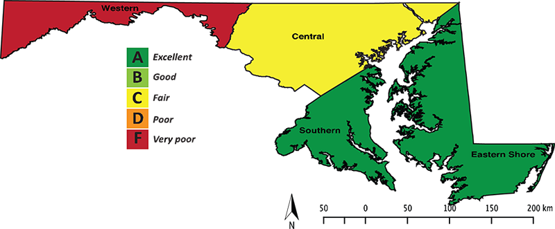 Map depicting the potential coarse-scale resiliency of Bermudagrass in Maryland, which indicates that this species grows best in Southern Maryland and on the Eastern Shore.