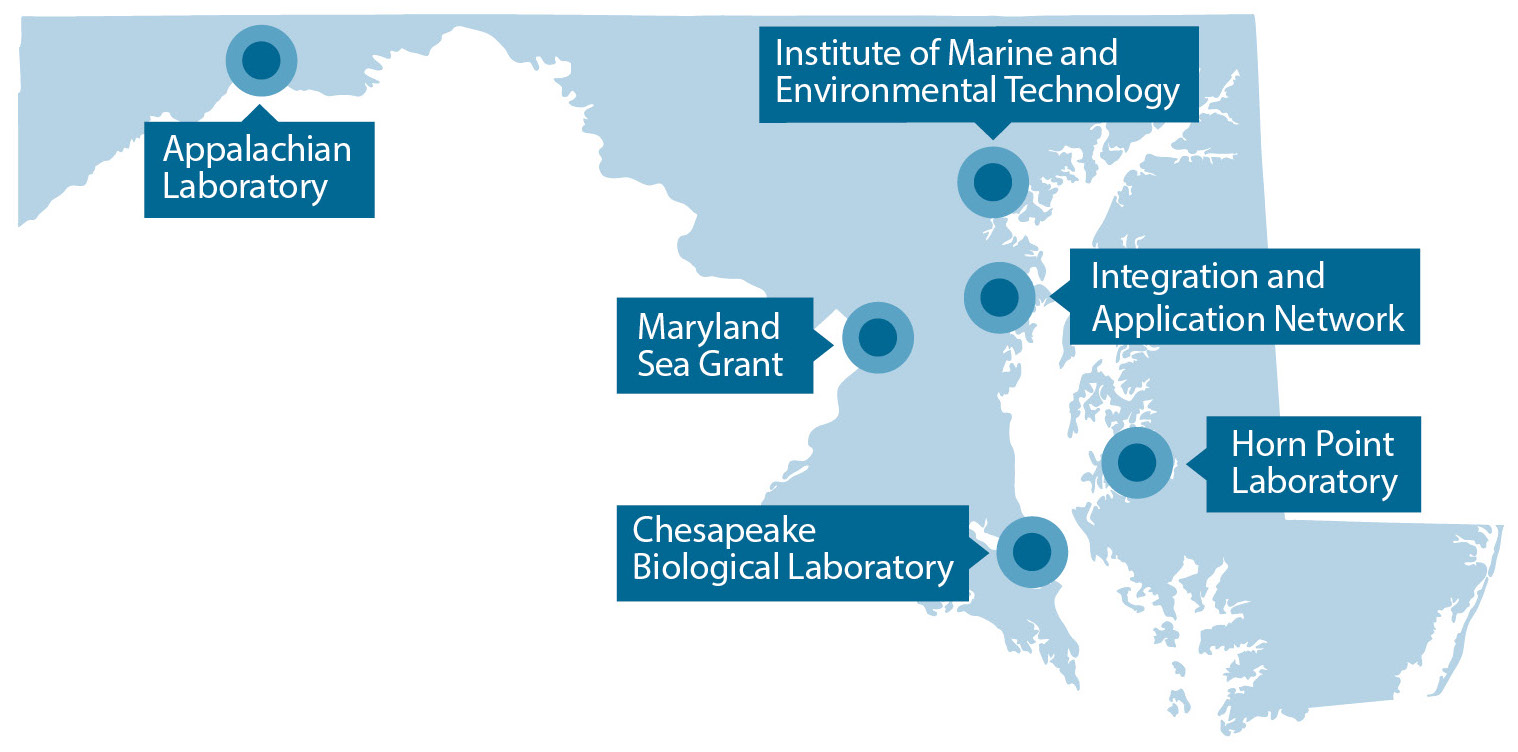 A blue map with pinpoints and markers indicating the locations of UMCES' labs and initiatives.